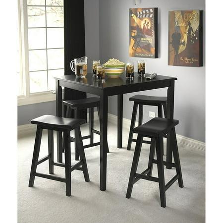 Simple Living Black Belfast 5 Piece Saddle Dining Room Set