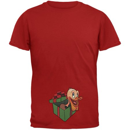 Duck In A Box Christmas Gift Cardinal Red Adult T-Shirt