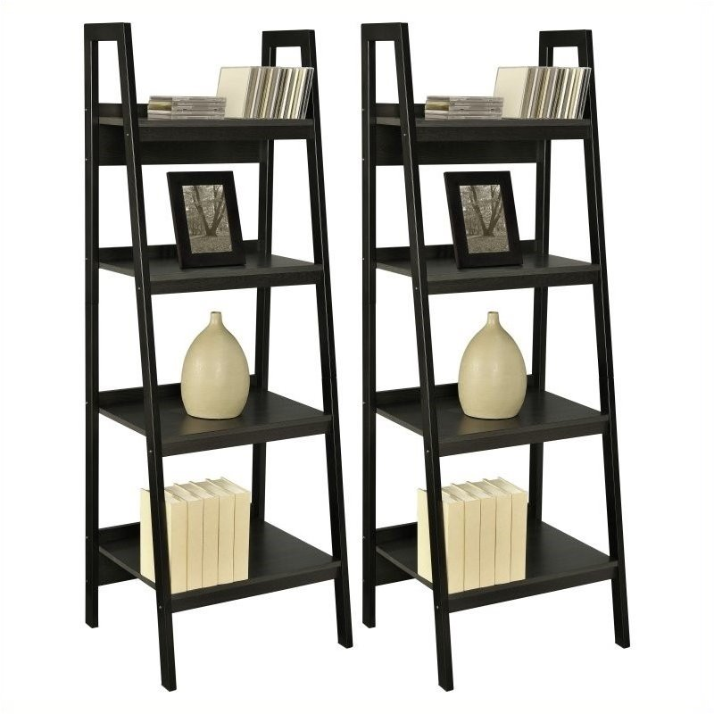 Pemberly Row 4 Shelf Ladder Bookcase in Black (Set of 2)
