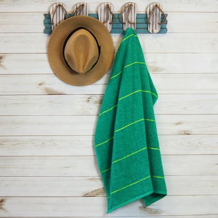 "Mainstays Stripe Beach Towel - Green - 27"" x 58"" - 1 Pack"