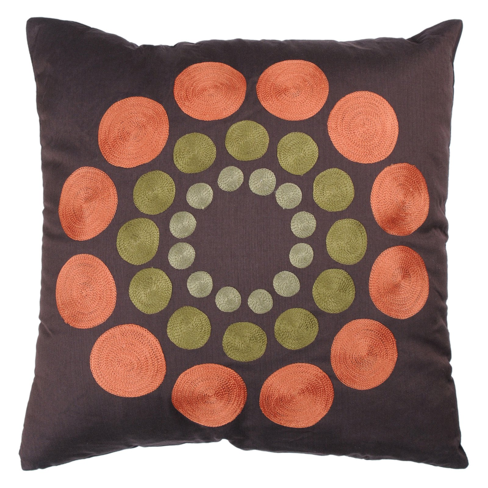 """Rizzy Home Decorative Poly Filled Throw Pillow Dots 18""""X18"""" Brown"""