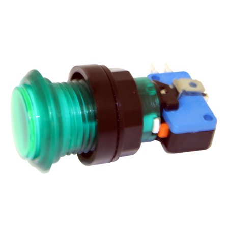 Green Long Length Illuminated Arcade Game Push Button with microswitch,