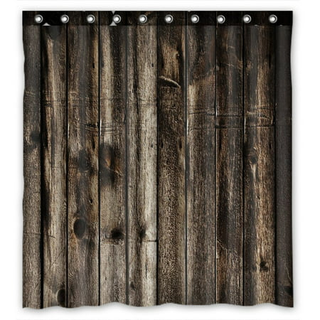 GCKG Rustic Old Barn Wood Waterproof Polyester Shower Curtain And Hooks Size 66x72 Inches