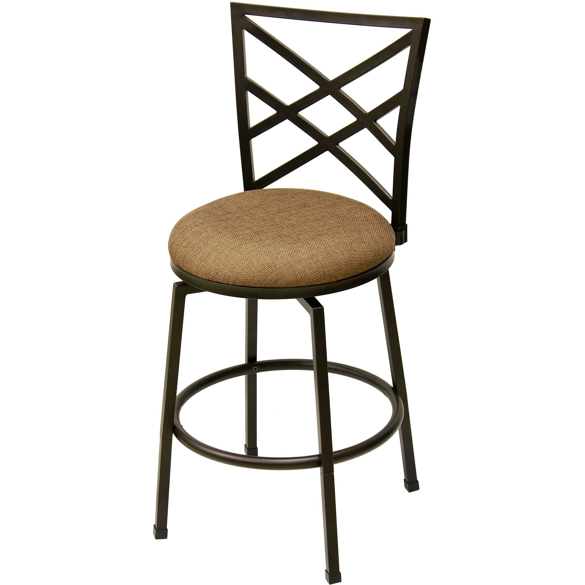 "Transitional Avery 24"" Barstool with Beige Woven Swivel Seat, Matte Black Finish"