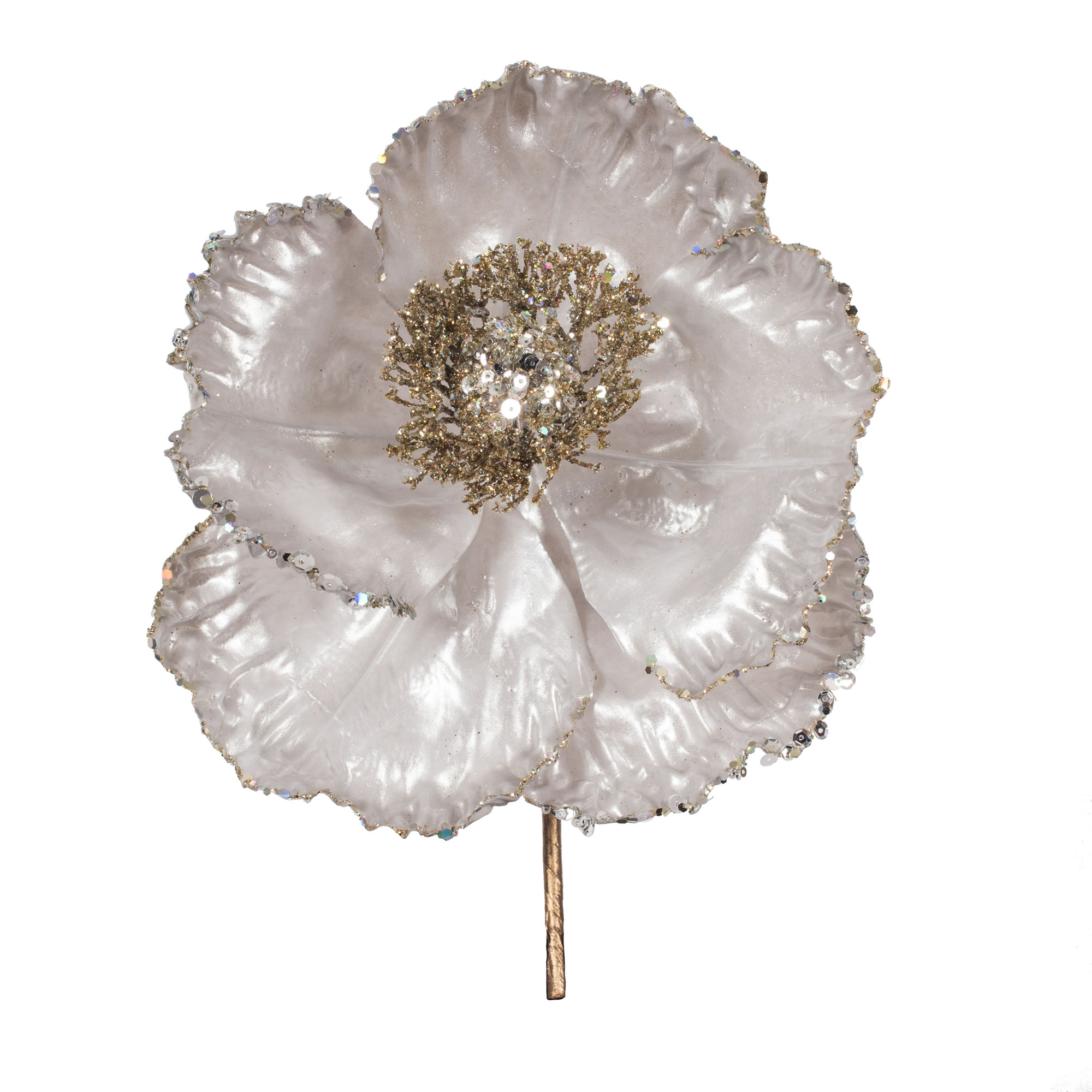 "14"" Rose Gold Pearl Poppy 8"" Flr 3/Bg"