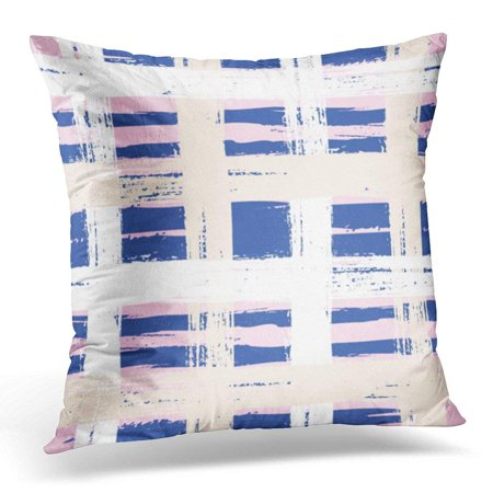 ARHOME Bold Plaid with Wide Brushstrokes and Stripes in Multiple Pastel Colors White Navy Blue Pink and Organic Pillow Cover 16x16 Inches Throw Pillow Case Cushion Cover](Navy Blue And Pink)