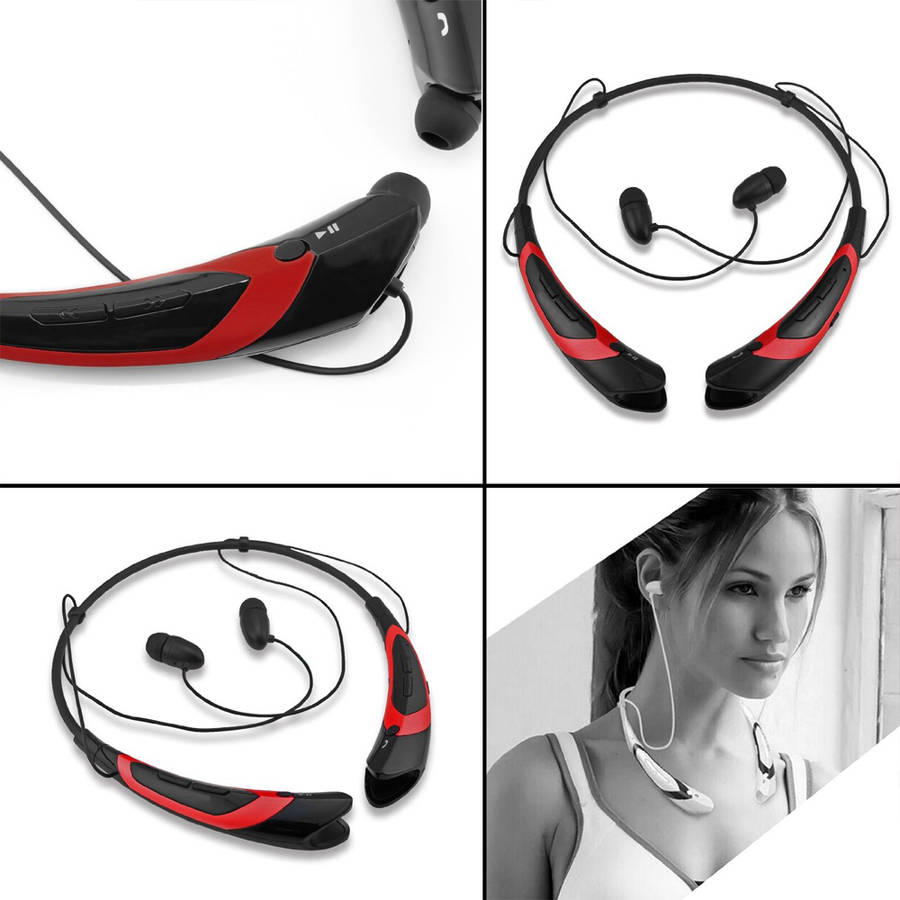 Bluetooth Wireless Headset, Black/Red