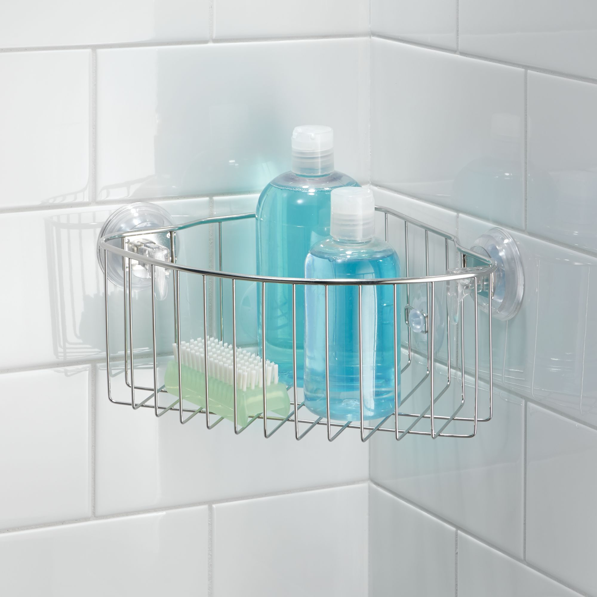 InterDesign Reo Powerlock Suction Corner Shower Basket Bath Caddy