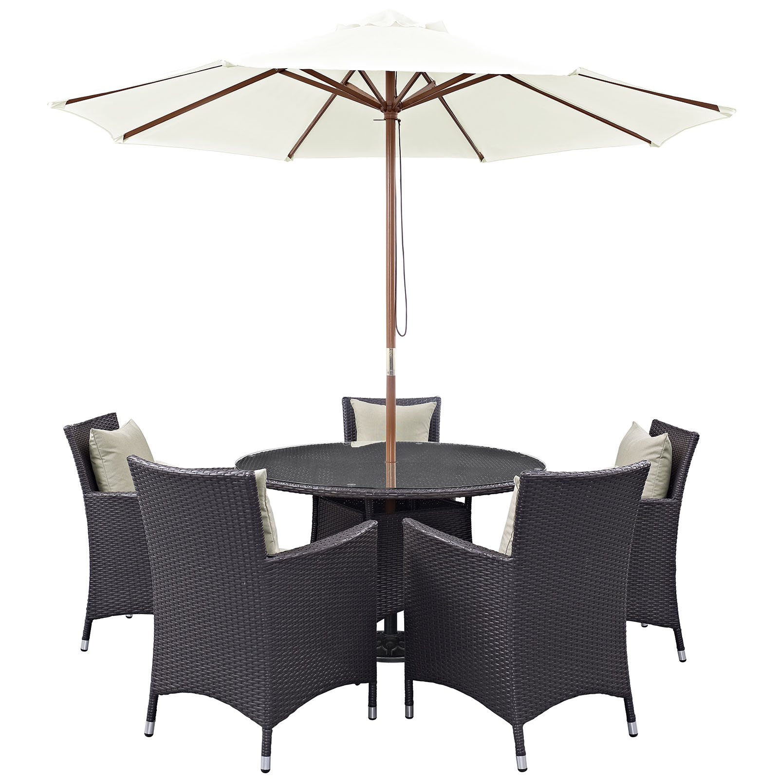 Modern Contemporary Urban Design Outdoor Patio Balcony Seven PCS Dining Chairs and Table Set, Beige, Rattan