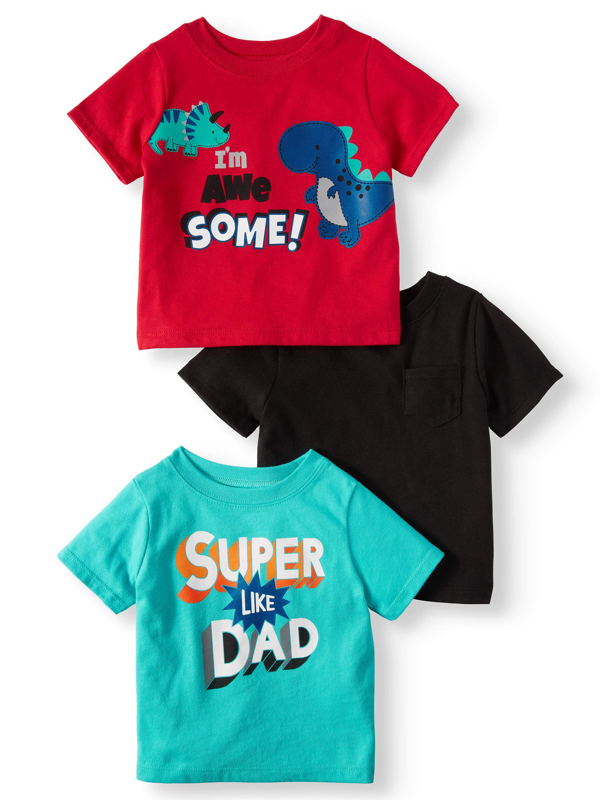 Solid & Graphic T-Shirts, 3pc Multi-Pack (Baby Boys)