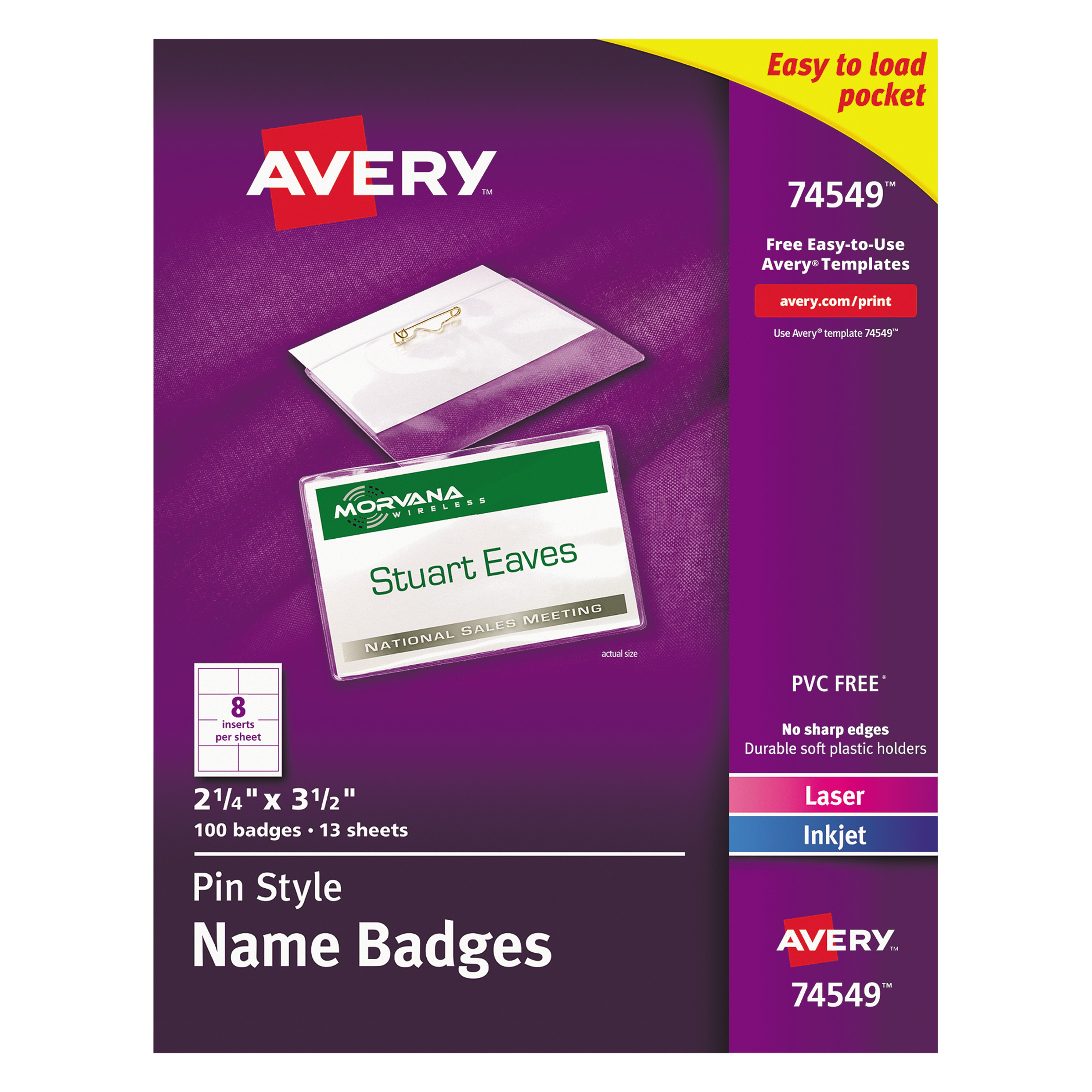 """Avery(R) Top-Loading Pin Style Name Badges 74549, 2-1/4"""" x 3-1/2"""", Box of 100"""