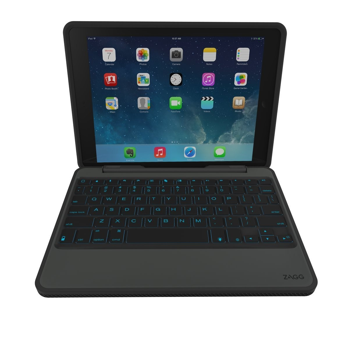 ZAGG Rugged Book Case Durable Hinged with Detachable Backlit Keyboard for iPad Air 2 Black (ID6RGK-BB0) by ZAGG