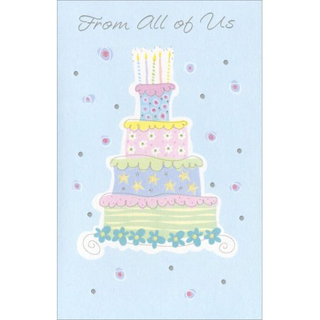 Freedom Greetings Pastel Layered Cake Birthday (Laser Cards)