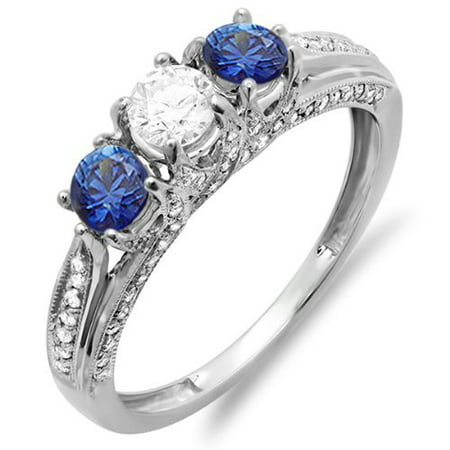 Dazzlingrock Collection 10K White Diamond & Blue Sapphire Ladies Vintage 3 Stone Engagement Ring, White Gold, Size 8 3 Stone Blue Sapphire Ring