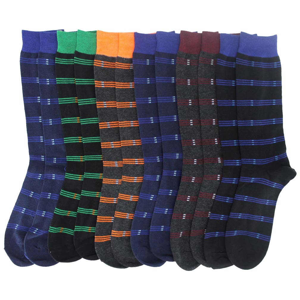 Luxury Divas Men's Colorful Funky Striped 6 Pack Assorted Knit Dress Crew Socks