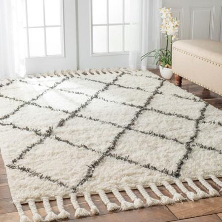 Nuloom Hand Knotted Moroccan Trellis Natural Wool Rug 6