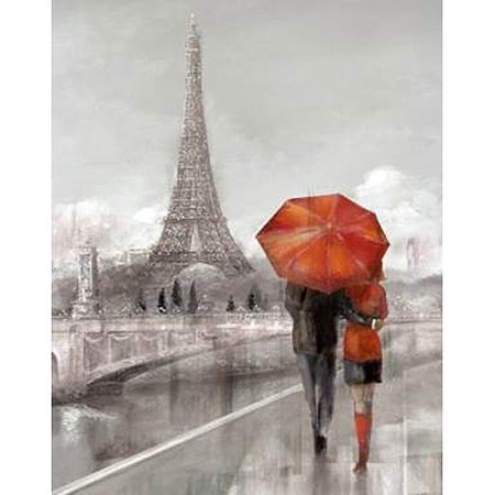 Painting Couple Walking In The Rain Red Umbrella