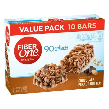 Fiber One Chewy Bar  90 Calorie  Chocolate Peanut Butter  10 Fiber Bars  8 2 Oz  Value Pack