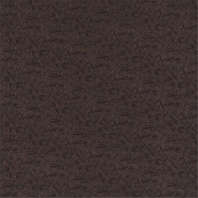 Designer Fabrics G345 54 in. Wide Brown, Metallic Raised Floral Vines Upholstery Faux Leather