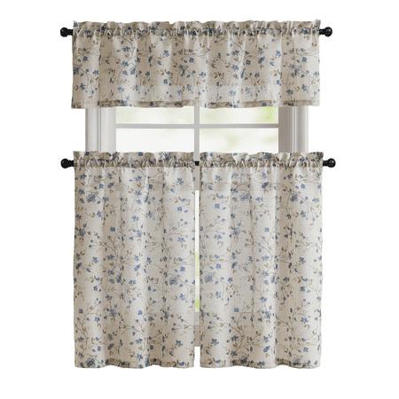 Floral Chic Cherry Blossom Kitchen Curtain Tier & Valance Set - Blue