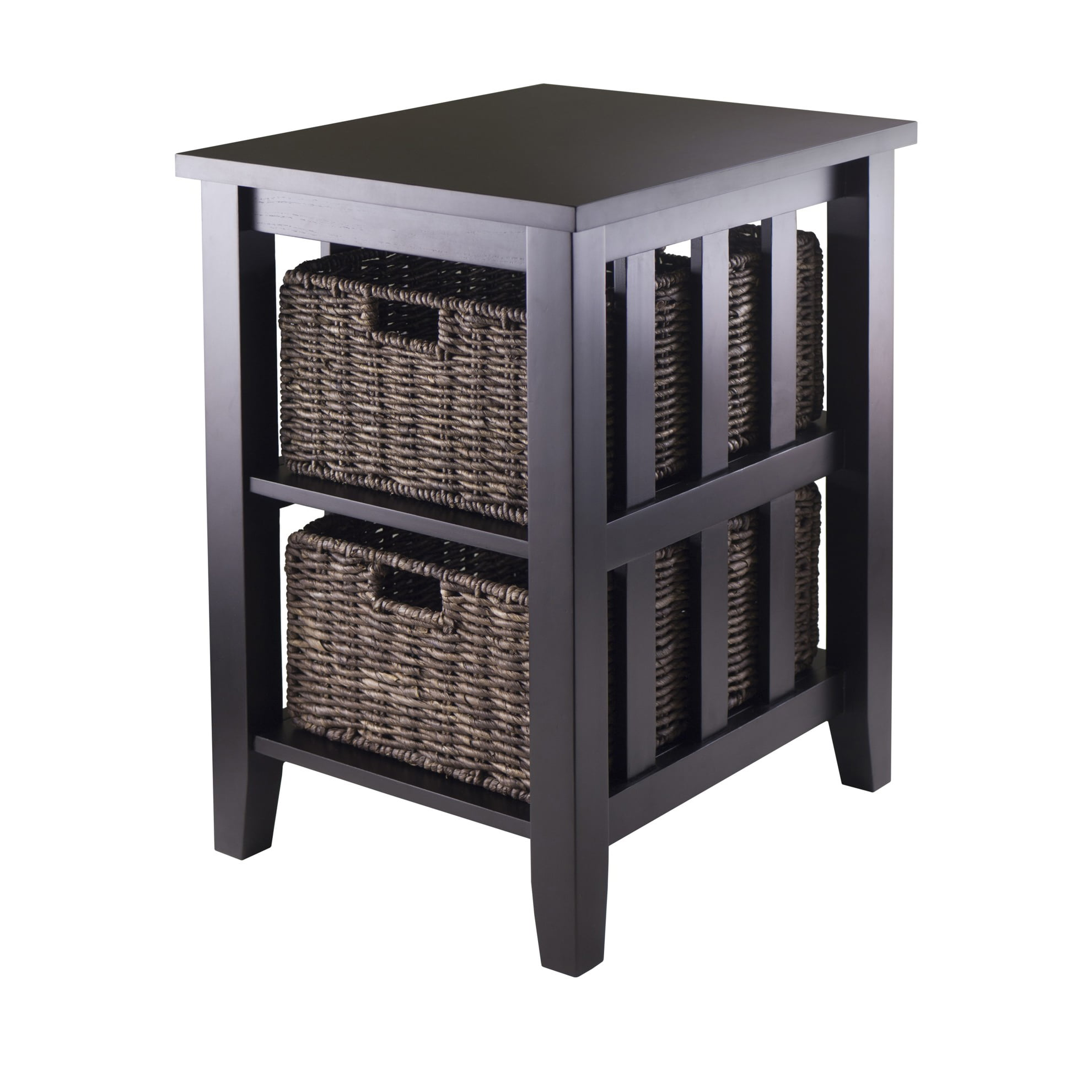 Winsome Wood Morris Accent Table with 2 Storage Baskets, Espresso Finish by Winsome Trading Inc