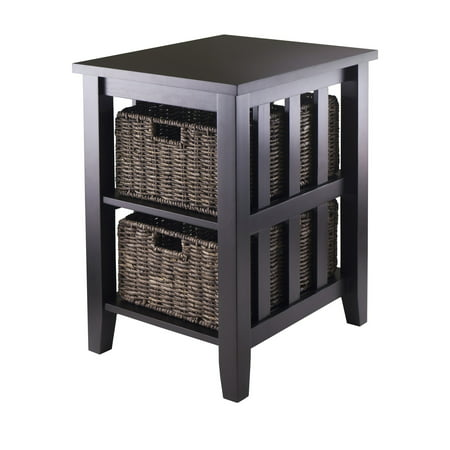 Winsome Wood Morris Accent Table with 2 Storage Baskets, Espresso Finish