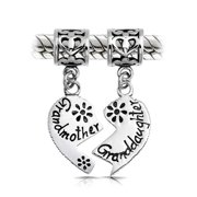 Bff Grandmother Granddaughter Puzzle Two Piece Split Heart Shape Dangle Bead Charm Sterling Silver Fit European Bracelet