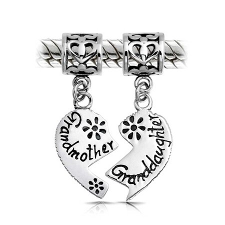 Bff Grandmother Granddaughter Puzzle Two Piece Split Heart Shape Dangle Bead Charm Sterling Silver Fit European