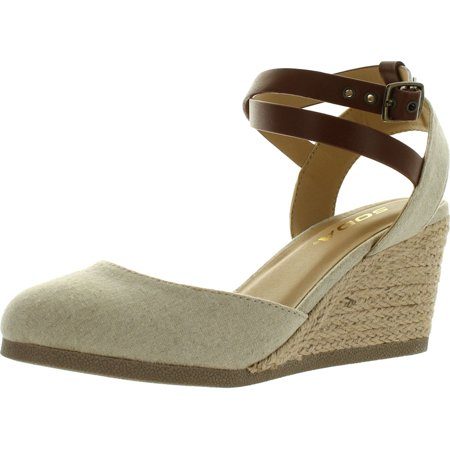 Closed Toe Fisherman Sandal - Soda Womens Request Closed Toe Espadrille Wedge Sandal in Natural Tan Linen