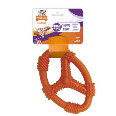 Nylabone Moderate Chew Flexible Oval Ring Dog Chew Toy, Chicken Flavor Medium - Dog Chew Toy