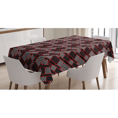 Red and Black Tablecloth, Geometric Rectangle Frames Retro Patterns Polka Dots and Houndstooth, Rectangular Table Cover for Dining Room Kitchen, 52 X 70 Inches, Black White Scarlet, by Ambesonne (Red Polka Dot Tablecloth)