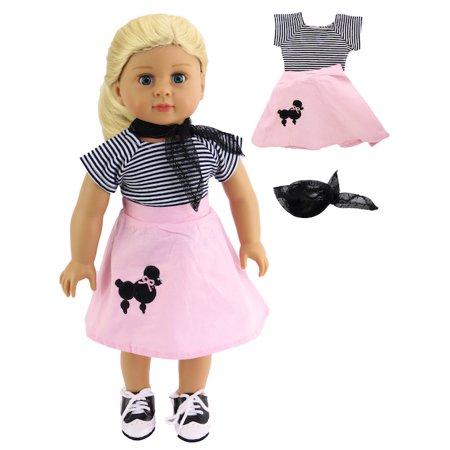 Poodle Skirt Set - Fits 18 inch dolls - Poodle Skirt Shoes