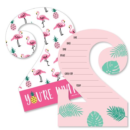 2nd Birthday Pink Flamingo - Party Like a Pineapple - Shaped Fill-in Invitations - Second Birthday Invitation Cards (Nfl Birthday Invitations)