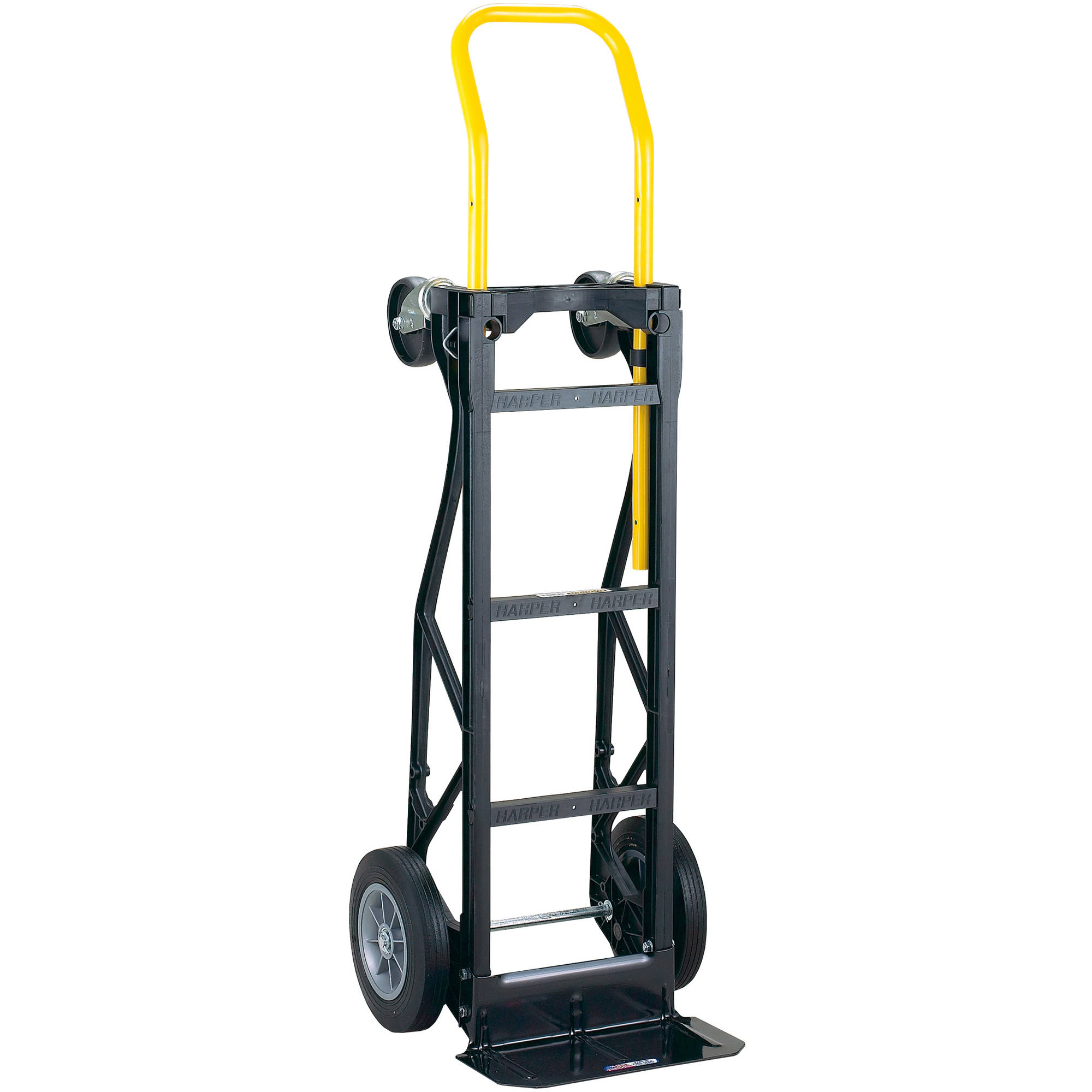 "Harper Trucks 700 lb Capacity Glass Filled Nylon Convertible Hand Truck and Dolly with 10"" Flat-Free Solid Rubber Wheels"