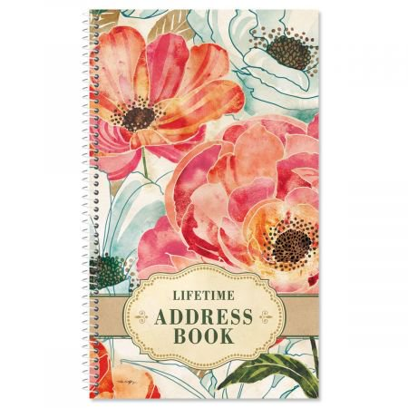 floral daydream lifetime address book 72 page soft cover telephone