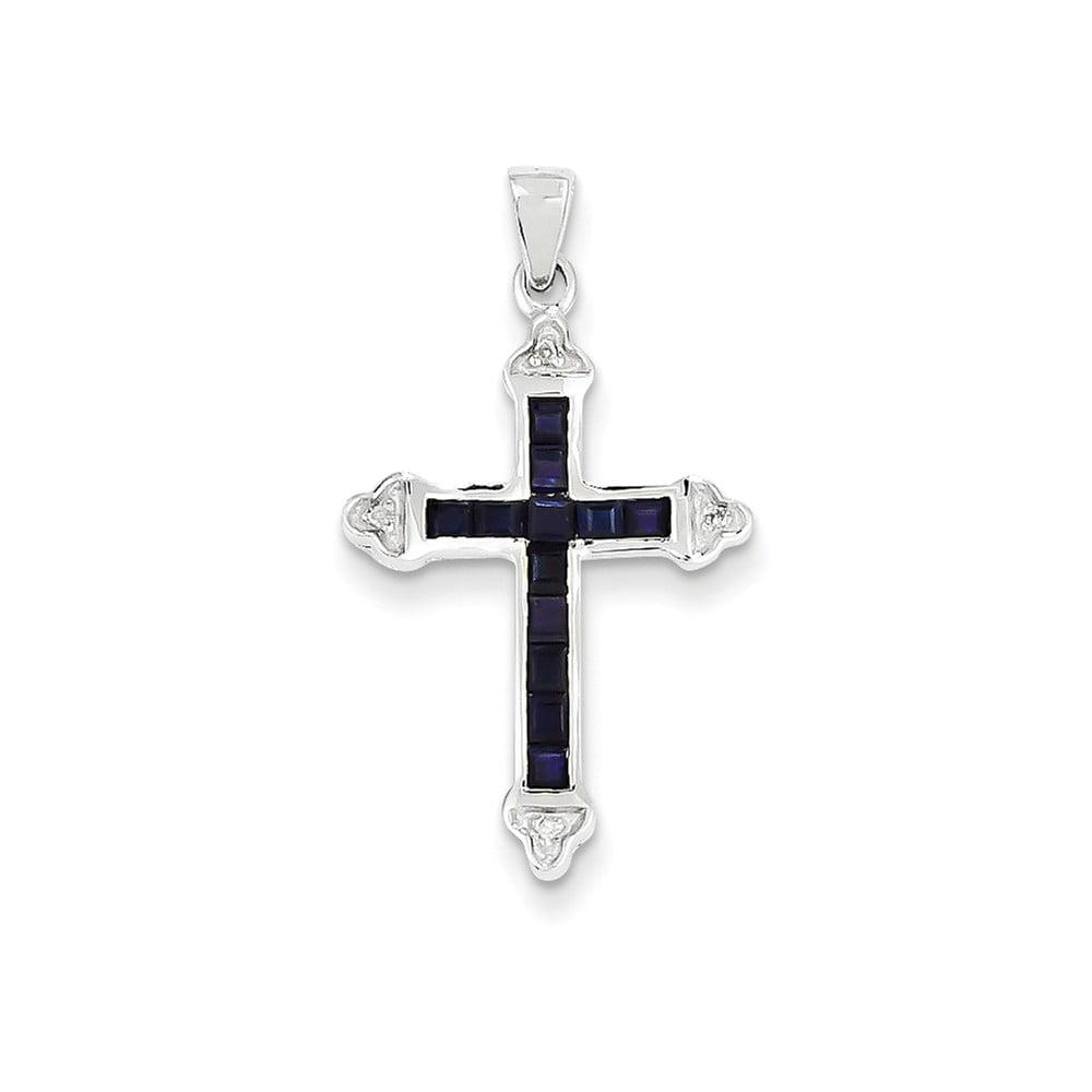 14k White Gold Diamond & Sapphire Cross Pendant Gem Wt- 0.63ct