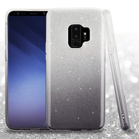 Insten Gradient Glitter PC/TPU Rubber Case Cover For Samsung Galaxy S9 - Black (Bundle with USB Type C Cable) - image 1 of 3