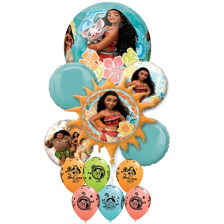 Disney Moana Maui Birthday Girl Epic Party 14 piece Balloon Bouquet Decorations - Girly Birthday Decorations
