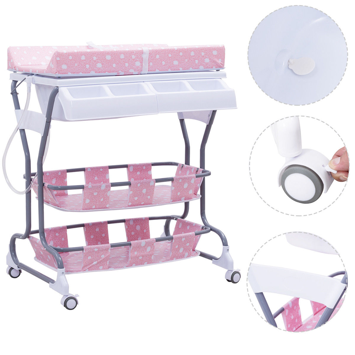Costway Infant Baby Bath Changing Table Diaper Station Nu...