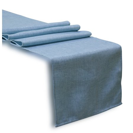 Aiking Home Solid Faux Linen Unlined Table Runner 13 By 72 inches - Baby Blue ()