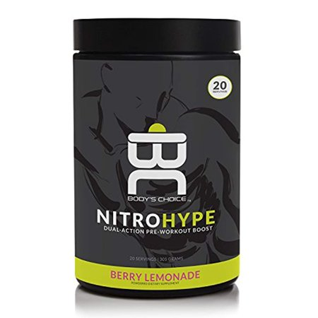 Body's Choice, NitroHype Dual-Action Pre-Workout Boost – Increase Stamina, Endurance, Focus and Drive – Sustained Fitness Supplement for Men and Women – (305g Powder, 20 Servings) Berry