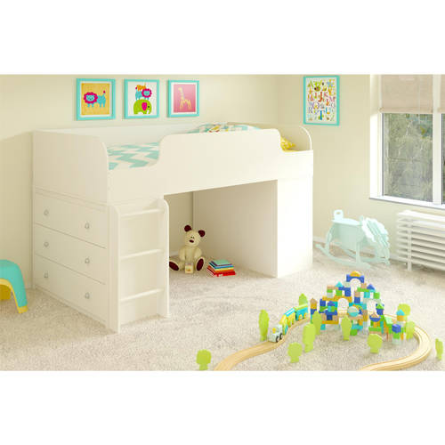 Cosco Elements Loft Bed Twin with two 3-Drawer Dressers, White Stipple