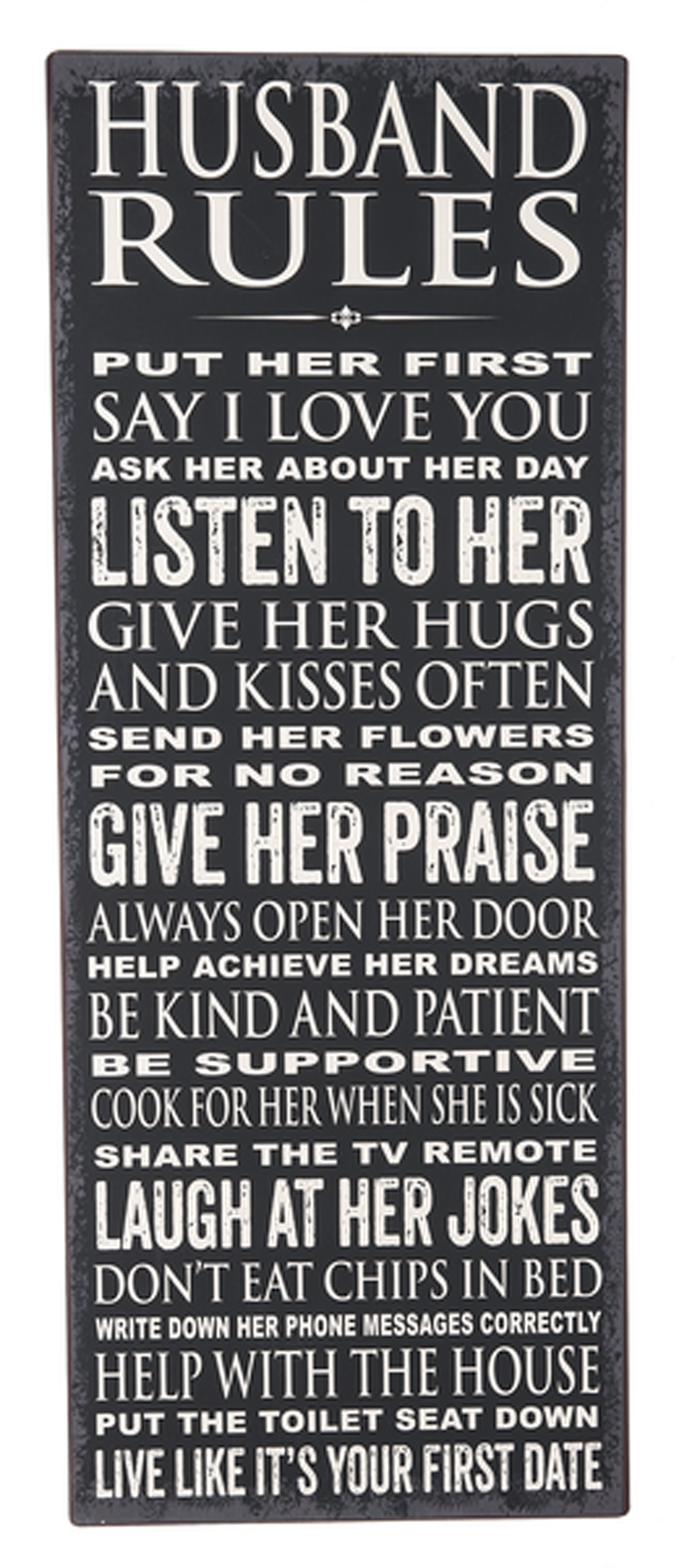 Husband Rules Tall Metal Sign - By Ganz