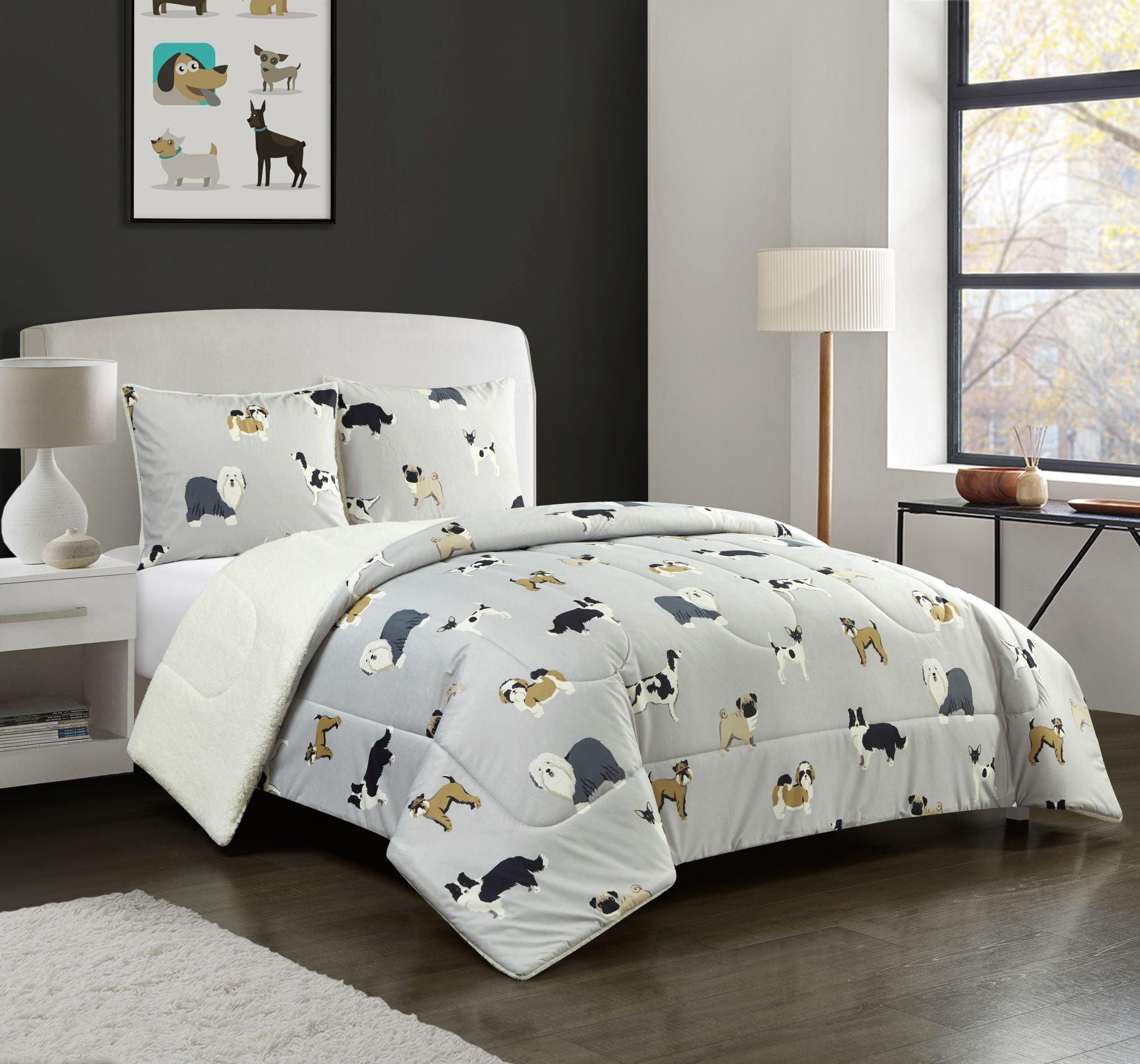 Mainstays Dog Cozy Flannel Reverse To Super Soft Sherpa Comforter Set King Walmart Com Walmart Com