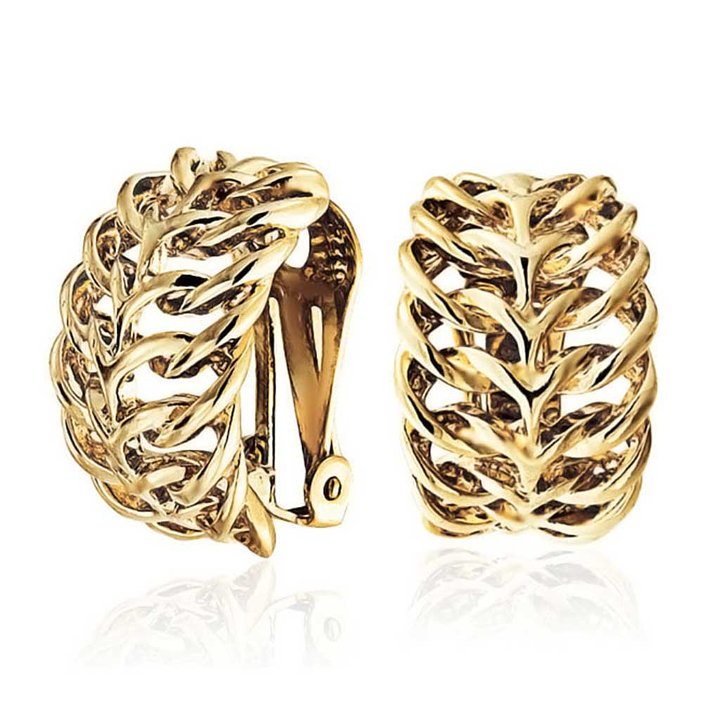 Open Leaf Feather Wide Half Hoop Clip On Earrings For Women Non Pierced Ears 14K Gold Plated Brass