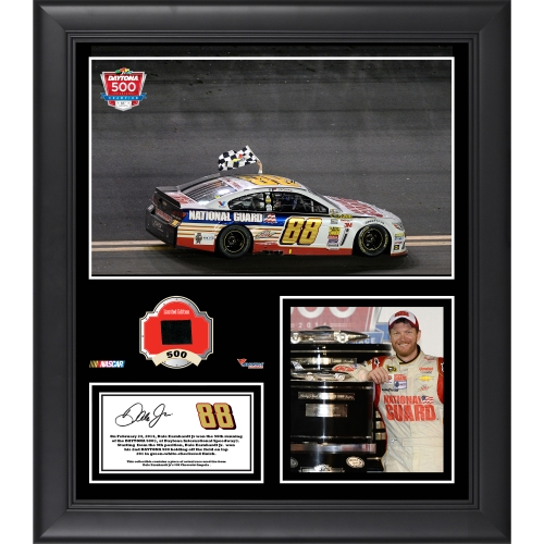 "Dale Earnhardt Jr. Fanatics Authentic Framed 15"" x 17"" 2014 Daytona 500 at Daytona International Speedway Race Winner Collage with Race-Used Tire - No Size"