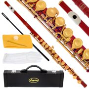 Lazarro 180-RD Professional Red-Gold Closed Hole C Flute with Case, Care Kit-Great for Band, Orchestra,Schools