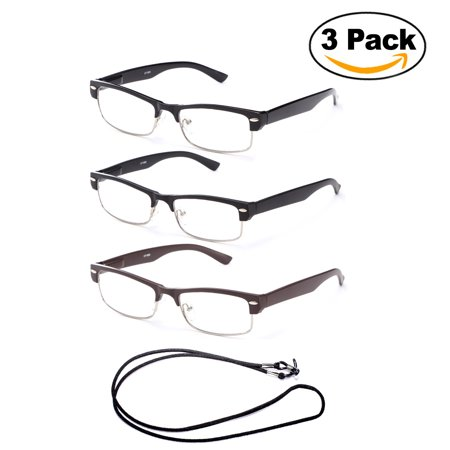 Rimless Spring (3 Pack Half Frame Semi Rimless Spring Hinge Fashion Reading Glasses with Lanyard +1.00 )