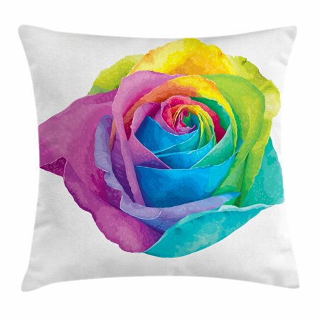Vintage Rainbow Throw Pillow Cushion Cover, Romantic Blooming Rose with Colorful Petals Love Flower Valentine's Day, Decorative Square Accent Pillow Case, 16 X 16 Inches, Multicolor, by