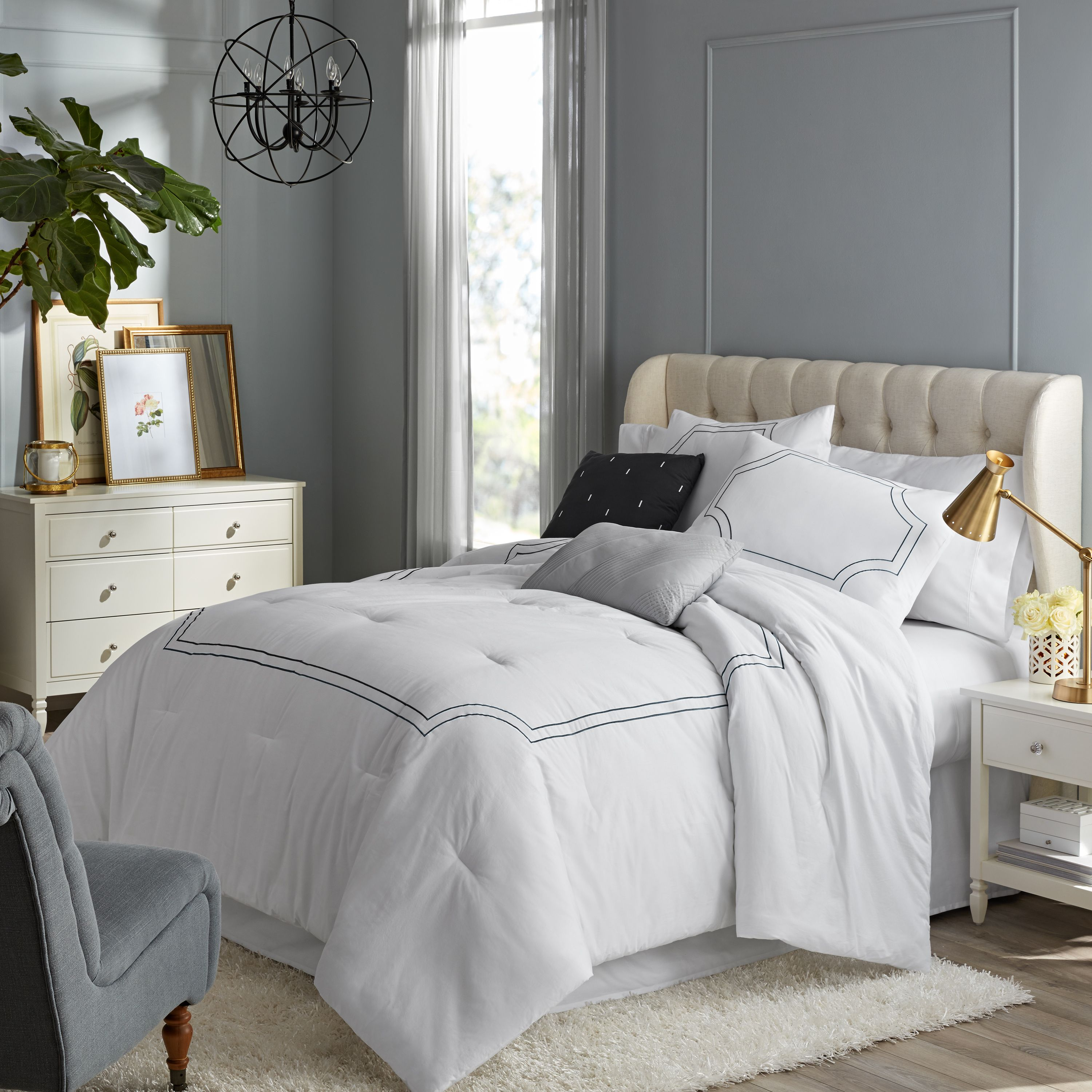 Hotel Style Florence Embroidered Comforter Set, 5 Pieces